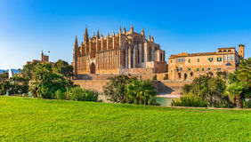 Spain Cathedral Palma de Majorca. Palma de Mallorca, view of the historical landmark Cathedral La Seu, Balearic Islands Royalty Free Stock Photography