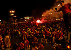 Spain celebrating victory Stock Photography