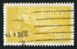 Postage stamp. SPAIN - CIRCA 1955: Plane and Caravel, circa 1955 royalty free stock photos