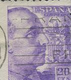 SPAIN - CIRCA 1949: Stamp printed in showing a portrait of General Francisco Franco 1892-1975 Royalty Free Stock Image