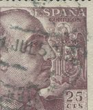 SPAIN - CIRCA 1949: Stamp printed in showing a portrait of General Francisco Franco 1892-1975 Stock Photography