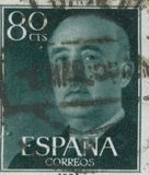 SPAIN - CIRCA 1949: Stamp printed in showing a portrait of General Francisco Franco 1892-1975 Royalty Free Stock Photography