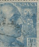 SPAIN - CIRCA 1949: Stamp printed in showing a portrait of General Francisco Franco 1892-1975 Stock Photos