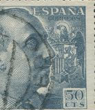SPAIN - CIRCA 1949: Stamp printed in showing a portrait of General Francisco Franco 1892-1975 Royalty Free Stock Photo