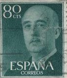 SPAIN - CIRCA 1949: Stamp printed in Spain showing a portrait of General Francisco Franco 1892-1975 , series Francisco Royalty Free Stock Images