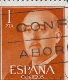 SPAIN - CIRCA 1949: Stamp printed in Spain showing a portrait of General Francisco Franco 1892-1975 , series Francisco Royalty Free Stock Photos