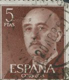 SPAIN - CIRCA 1949: Stamp printed in Spain showing a portrait of General Francisco Franco 1892-1975 , series Francisco Stock Photo