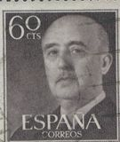 SPAIN - CIRCA 1949: Stamp printed in Spain showing a portrait of General Francisco Franco 1892-1975 , series Francisco Royalty Free Stock Photography