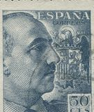 SPAIN - CIRCA 1949: Stamp printed in Spain showing a portrait of General Francisco Franco 1892-1975 , series Francisco Stock Image