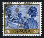 Children on the beach by Joaquin Sorolla. SPAIN - CIRCA 1964: stamp printed by Spain, shows Children on the beach by Joaquin Sorolla, circa 1964 Stock Images