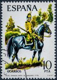 Stamp printed in Spain shows Dragon regiment of Sagunto 1775. SPAIN - CIRCA 1975: A stamp printed in Spain shows Dragon regiment of Sagunto 1775 Royalty Free Stock Images