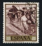Extracting the boat by Joaquin Sorolla. SPAIN - CIRCA 1964: stamp printed by Spain, shows Extracting the boat by Joaquin Sorolla, circa 1964 Stock Photography