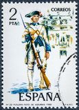 Stamp printed in Spain shows Fusilier regiment of Asturias 1789. SPAIN - CIRCA 1975: A stamp printed in Spain shows  Fusilier regiment of Asturias 1789 Royalty Free Stock Images