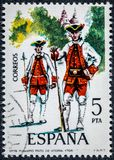 Stamp printed in Spain shows Fusilier regiment of Victoria 1766. SPAIN - CIRCA 1975: A stamp printed in Spain shows Fusilier regiment of Victoria 1766 Royalty Free Stock Image