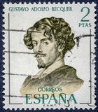 Spanish poet and narrator, Gustavo Adolfo Claudio Dominguez Bastida. SPAIN - CIRCA 1970: A stamp printed in Spain shows Gustavo Adolfo Becquer royalty free stock images