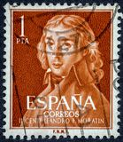 Poet and dramatist leandro fernandez de moratin. SPAIN - CIRCA 1961: A stamp printed in Spain shows Leandro Fernandez de Moratin Royalty Free Stock Photography