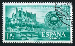 Palma Cathedral and Conference Emblem. SPAIN - CIRCA 1967: stamp printed by Spain, shows Palma Cathedral and Conference Emblem, circa 1967 Royalty Free Stock Images