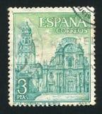 Santa Maria de Murcia. SPAIN - CIRCA 1969: stamp printed by Spain, shows Santa Maria de Murcia, circa 1969 Royalty Free Stock Photos