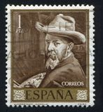 Joaquin Sorolla. SPAIN - CIRCA 1964: stamp printed by Spain, shows self-portrait of Joaquin Sorolla, circa 1964 Stock Photography