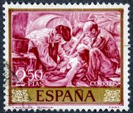 Stamp printed by Spain shows And they still say painted by Sorolla. SPAIN - CIRCA 1964: A stamp printed by Spain shows And they still say painted by Sorolla Royalty Free Stock Photo