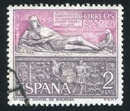 Cathedral of Siguenza. SPAIN - CIRCA 1968: stamp printed by Spain, shows Tomb of Martin Vazquez de Arce, Cathedral of Siguenza, circa 1968 Stock Photography