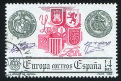 Arms. SPAIN - CIRCA 1982: stamp printed by Spain, shows Unification, Europa, circa 1982 royalty free stock photo