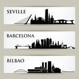 Spain cities skylines - vector illustration. Spain cities skylines - Europe cityscapes Royalty Free Stock Images