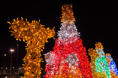 Spain, Ciudad Real, Christmas Light Sculptures of. The Three Magician Kings Royalty Free Stock Photo