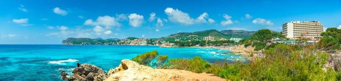 Spain, coast panorama view of Paguera, Majorca island. Seaside panorama view of beach at Paguera and Calvia coast, Majorca Balearic Islands, Spain Mediterranean royalty free stock photos