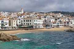 Spain coastal village with sandy beach Costa Brava Stock Photography