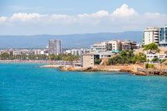 Spanish coastline. Salou resort sea view. Famous spain resort. Spain coastline. Salou resort sea view. Famous spanish resort Royalty Free Stock Images