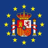 Spain coat of arms on the European Union flag royalty free stock images