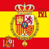 Spain, Coat of arms of Kingdom of Spain with flag & monogram Stock Image