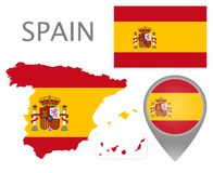 Spain  flag, map and map pointer vector illustration