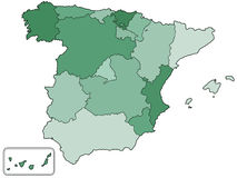 Spain contour map Royalty Free Stock Image