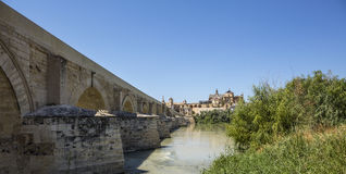 Spain Cordoba Bridge Cathedral Mosque Stock Photography