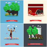 Spain Corrida, Running of the Bulls concept vector illustration. Bull and a matador Royalty Free Stock Image