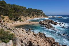Spain Costa Brava beach and rocks Palafrugell Stock Photo
