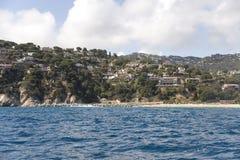 Spain. Costa Brava. Houses on the rocky coast. Stock Image
