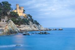 Spain, Costa Brava, Lloret de Mar, Castell Sant Joan. Castle XI century was used to protect against attacks by sea pirates and other enemies Royalty Free Stock Photography