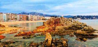 Spain. Costa Brava. Lloret de Mar. Panoramic view. stock photos