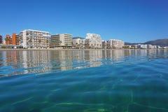 Spain Costa Brava seaside town apartment buildings Stock Photo