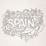 Spain country hand lettering and doodles elements Royalty Free Stock Photo