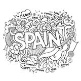 Spain country hand lettering and doodles elements Stock Photos