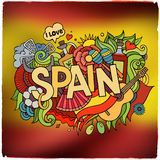 Spain country hand lettering and doodles elements Stock Photography