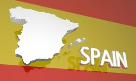 Spain Country Nation Map Europe Flag Royalty Free Stock Photos