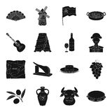 Spain country set icons in black style. Big collection of Spain country vector symbol stock illustration Royalty Free Stock Photo