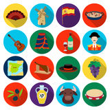 Spain country set icons in flat style. Big collection of Spain country vector symbol stock illustration. Spain country set icons in flat design. Big collection Stock Photography