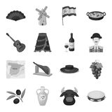 Spain country set icons in monochrome style. Big collection of Spain country vector symbol stock illustration Stock Photos