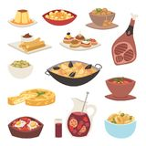 Spain cuisine cookery traditional food dish recipe spanish snack tapas crusty bread gastronomy vector illustration. Spain cuisine cookery traditional food dish vector illustration
